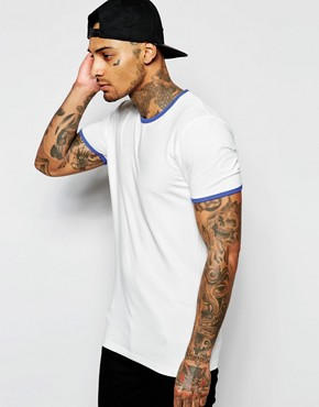 ASOS Muscle Fit T-Shirt With Stretch And Contrast Ringer Neck