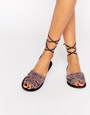 ASOS FRIENDSHIP Tie Leg Leather Sandals