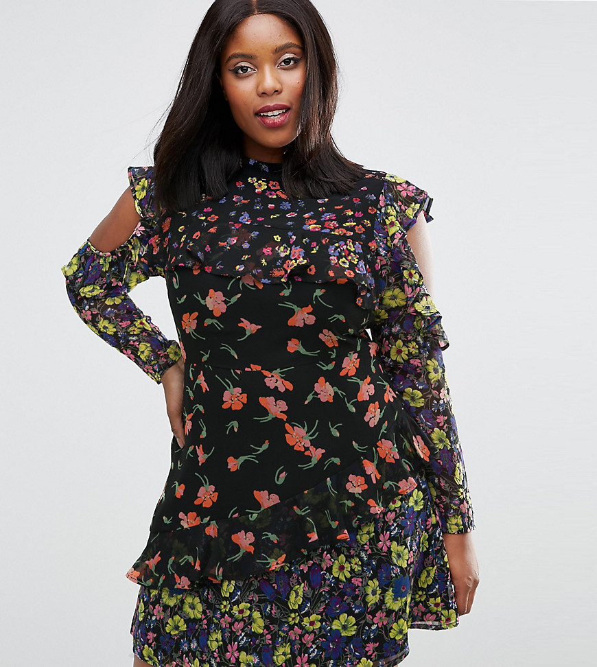 ASOS CURVE Mixed Print Mini Dress with Cold Shoulder and Frill