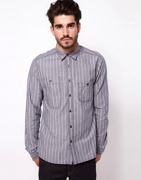 Image 1 ofASOS Chambray Shirt With Stripe