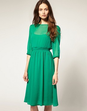 Image 1 ofASOS Midi Dress In Soft Chiffon
