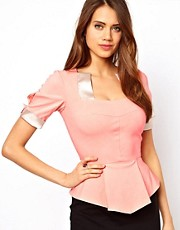 Hybrid Top With Peplum and Satin Inserts
