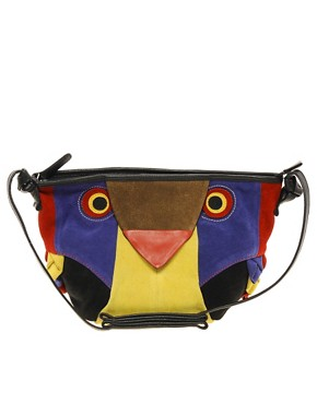 Image 1 ofASOS Suede Owl Across Body Bag