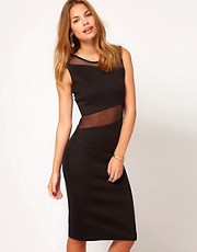 Club L Midi Bodycon Dress With Mesh Panel