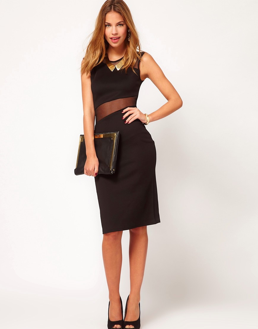 Image 4 of Club L Midi Bodycon Dress With Mesh Panel