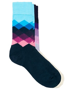 Image 3 ofHappy Socks Faded Diamond Socks