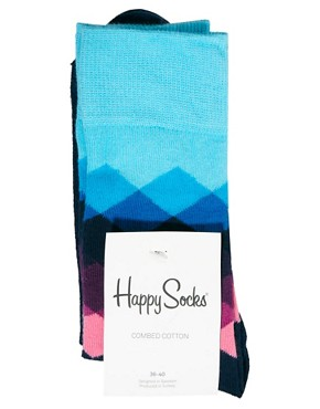 Image 4 ofHappy Socks Faded Diamond Socks