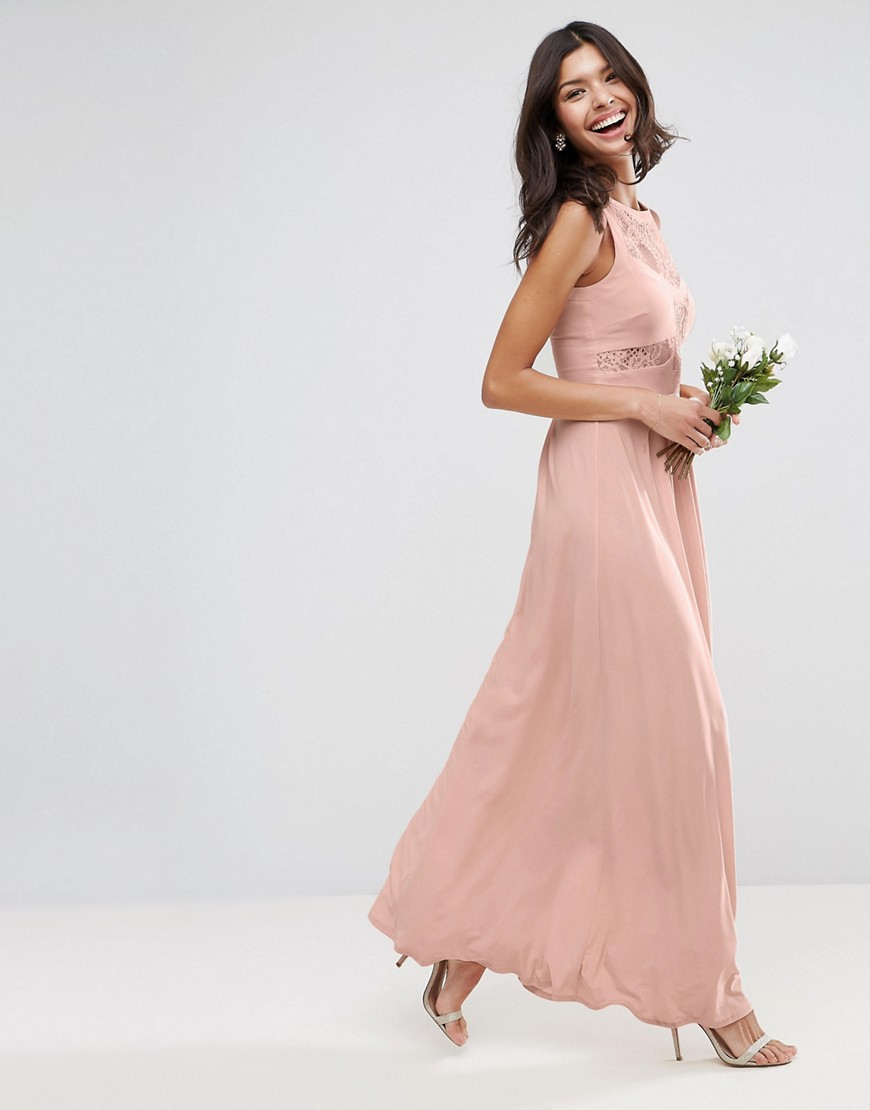 ASOS WEDDING Lace Top Pleated Maxi Dress - Nude