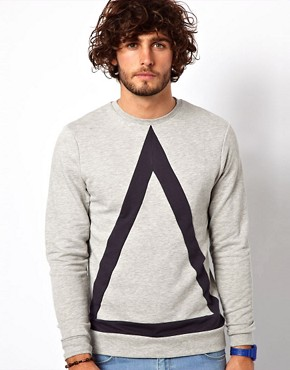 Image 1 ofASOS Sweatshirt With Bold Triangle Cut And Sew Detail