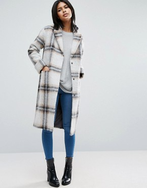 ASOS Wool Blend Coat in Edge to Edge Check with Roll Back Cuff