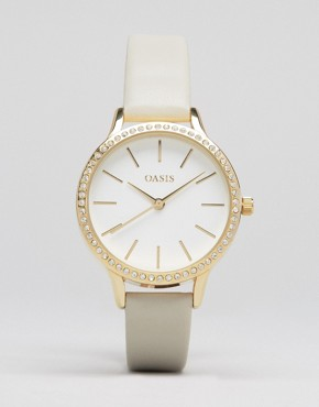 Oasis Grey Leather & Gold Dial Watch