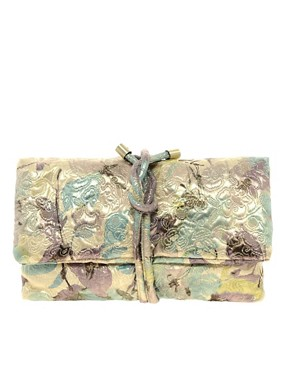 Image 1 ofASOS Metallic Brocade Clutch Bag
