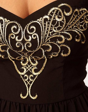 Image 3 ofLipsy Embroidered Bodice Peplum Top