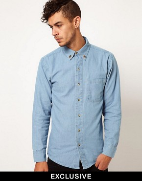 Image 1 ofReclaimed Vintage Denim Shirt with Skull Collar Tips