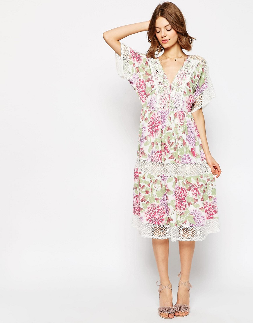 ASOS PREMIUM Floral Midi Dress with Crochet Insert
