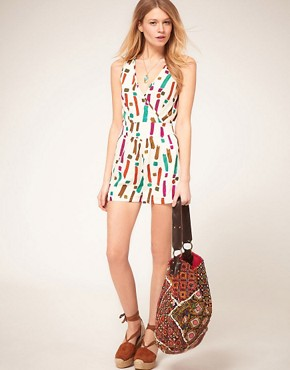 Image 4 ofASOS PETITE Exclusive Playsuit With Strappy Back