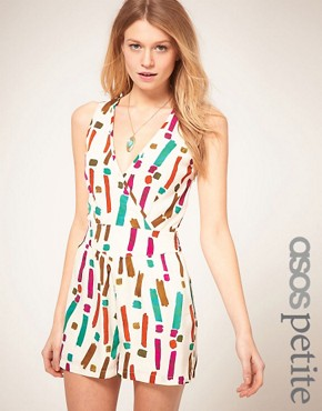 Image 1 ofASOS PETITE Exclusive Playsuit With Strappy Back