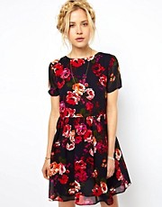 ASOS Skater Dress in Vintage Floral with Tie Back