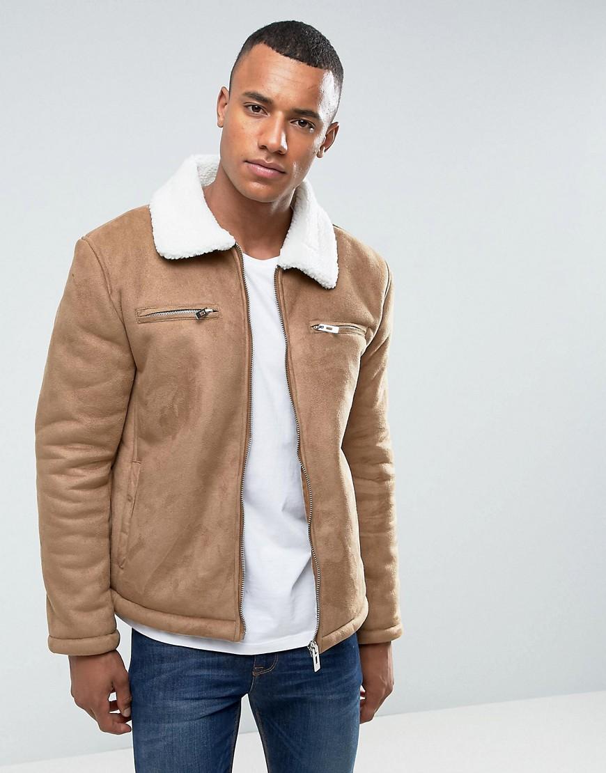 Brave Soul Faux Shearling Collar Jacket - Tan