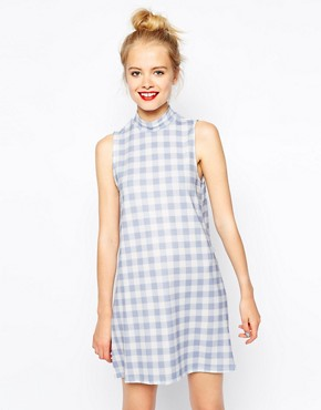 ASOS Shift Dress in Textured Gingham Print with High Neck