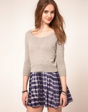 Image 1 ofASOS Jumper Dress With Tie Dye Skirt