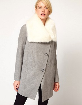 Image 1 of ASOS Faux Fur Collar Oversized Coat