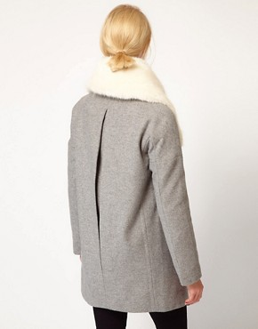 Image 2 of ASOS Faux Fur Collar Oversized Coat