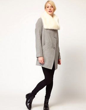Image 4 of ASOS Faux Fur Collar Oversized Coat