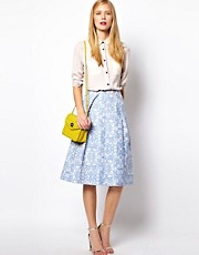 ASOS Midi Skirt In Blue Floral Jacquard