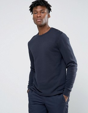 ASOS Sweatshirt With Fixed Hem In Navy