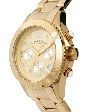 Image 4 ofMarc by Marc Gold Chronograph with Silver Dial Detail Watch