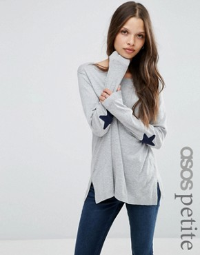 ASOS PETITE Jumper with Navy Star Elbow Patch