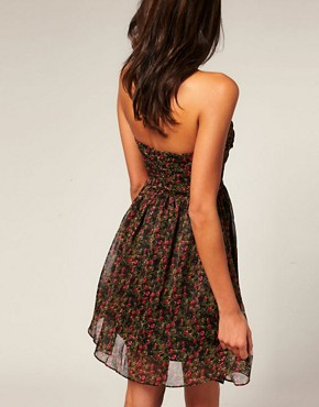 Image 2 ofRare Ditsy Floral Chiffon Bandeau Babydoll Dress