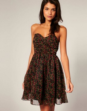 Image 1 ofRare Ditsy Floral Chiffon Bandeau Babydoll Dress