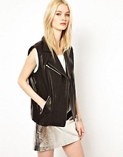 HIDE Dree Sleeveless Leather Biker Jacket in Black