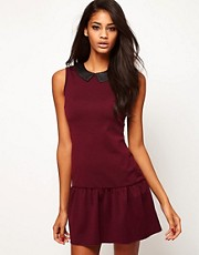 Paprika Shift Dress with Faux Leather Collar