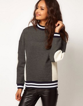 Image 1 ofASOS Sweatshirt with Panel and Stripe Rib