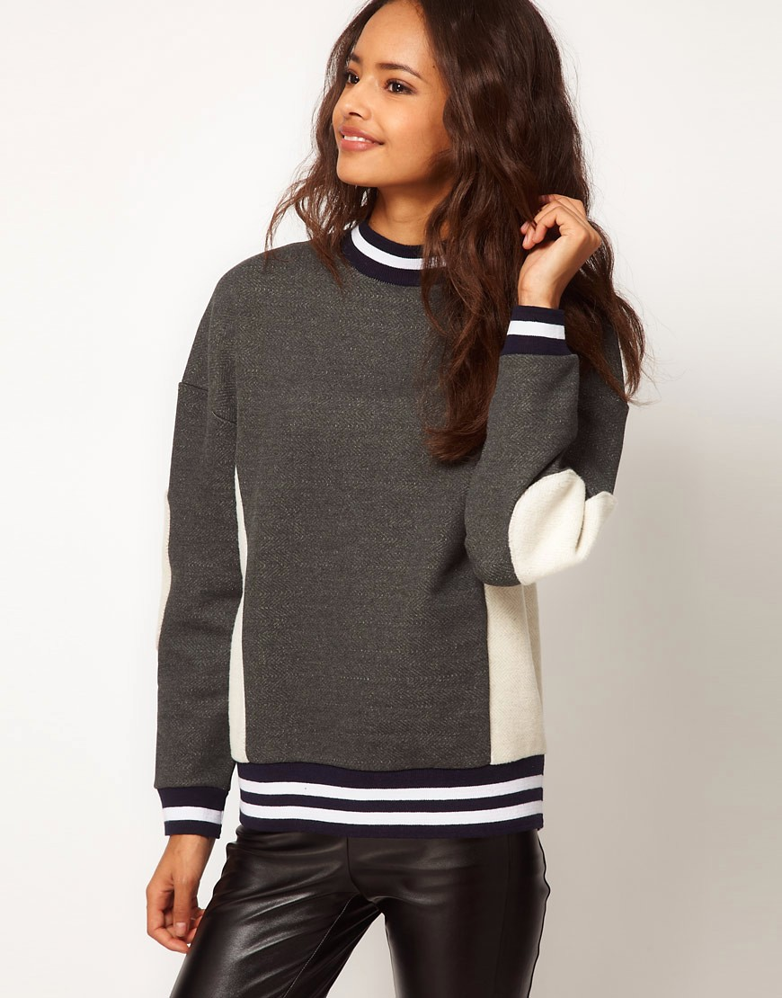 Image 1 of ASOS Sweatshirt with Panel and Stripe Rib
