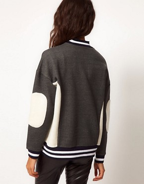 Image 2 ofASOS Sweatshirt with Panel and Stripe Rib