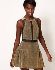 Three Floor Gold Dust Dress with Frill Skirt