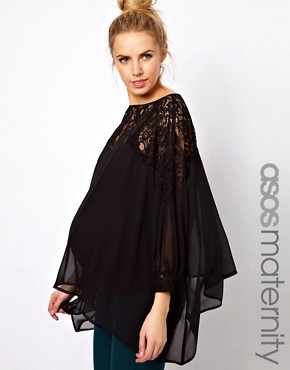 Image 1 ofASOS Maternity Top With Lace Trim And Cuff