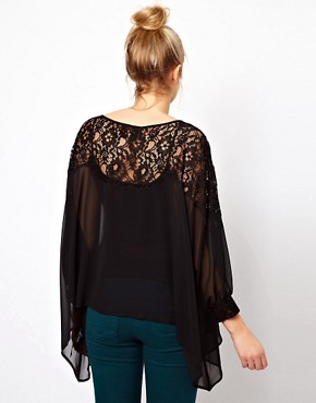 Image 2 ofASOS Maternity Top With Lace Trim And Cuff