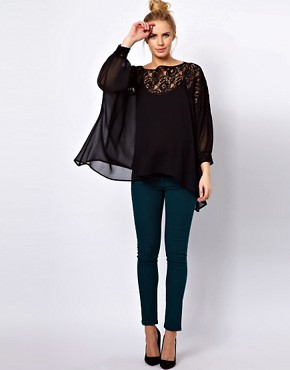 Image 4 ofASOS Maternity Top With Lace Trim And Cuff