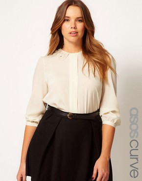 Image 1 ofASOS CURVE Blouse With Pearl Collar