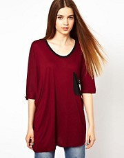 Unconditional Oversized T-Shirt with Contrast Drape Pocket