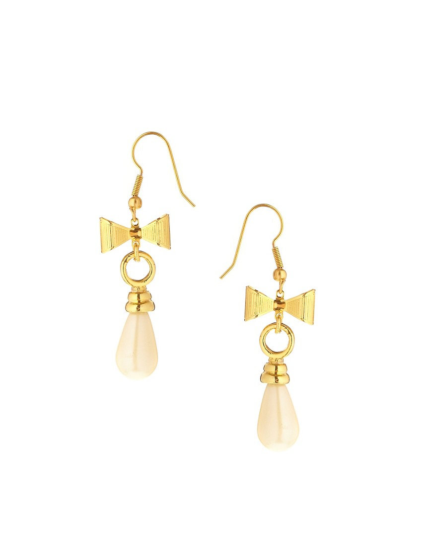 Adele Marie Vintage Drop Ivory And Bow Earrings - White