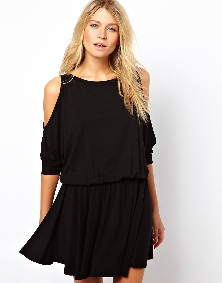 Image 1 of ASOS Skater Dress With Batwing Sleeve and Cold Shoulder