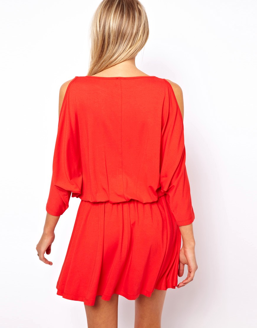 Image 2 of ASOS Skater Dress With Batwing Sleeve and Cold Shoulder