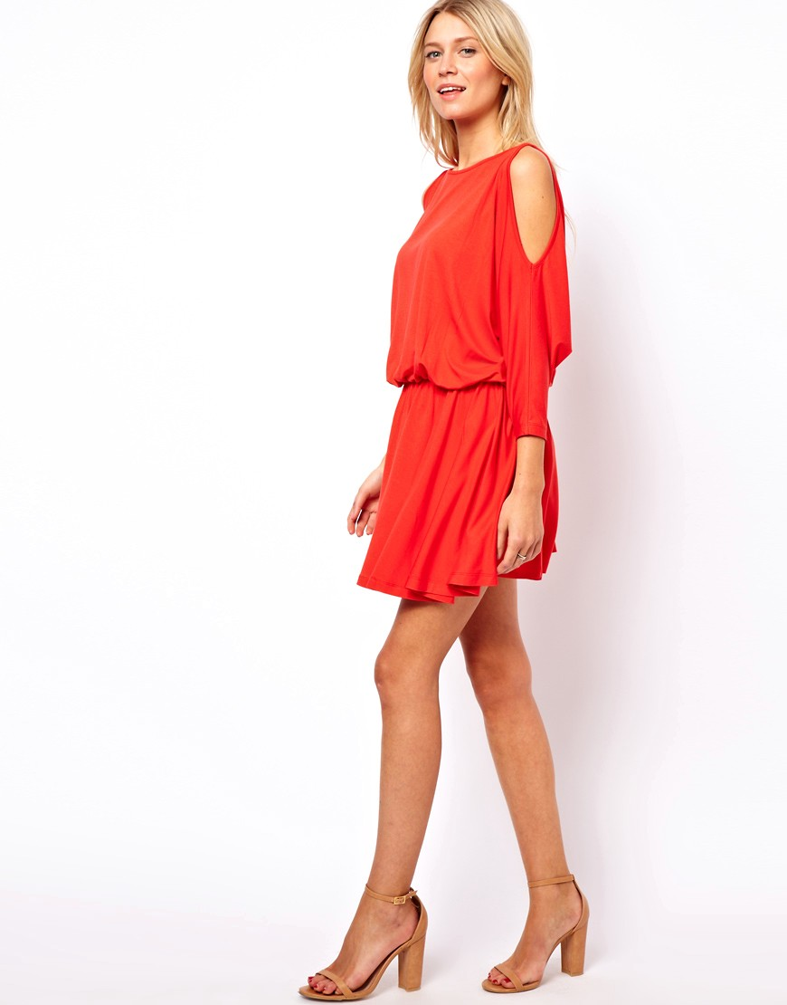 Image 4 of ASOS Skater Dress With Batwing Sleeve and Cold Shoulder