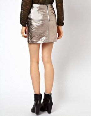 Image 2 ofASOS Mini Skirt in Metallic Leather